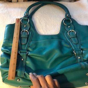 "MONDANI WOMEN TEAL LARGE SHOULDER BAG 9"" 13"" 15"""